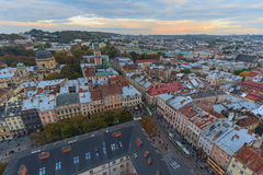 Scenic view on top of the town's medieval architecture. Lviv. Ukraine stock photo