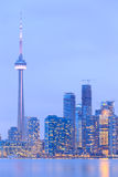 Scenic view at Toronto city waterfront skyline. At twilight Royalty Free Stock Photography