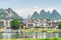 Scenic view of tourist boats on the Li River, Yangshuo stock photos