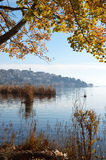 Scenic view of town and lake in autumn royalty free stock photos