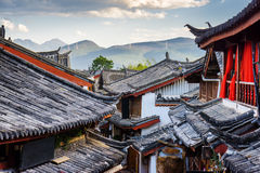 Scenic view of traditional Chinese tile roofs of houses, Lijiang Stock Photo