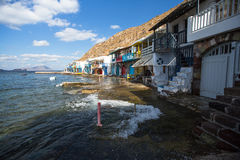 Scenic view of traditional fisherman village Klima on the island. Royalty Free Stock Images