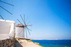 Scenic view of traditional greek windmills on Mykonos island, Cyclades, Greece Royalty Free Stock Photo