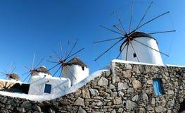 Scenic view of traditional greek windmills on Mykonos island, Cyclades, Greece stock image