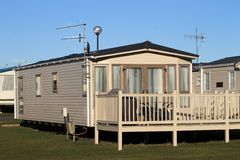 View of trailers in caravan park Stock Images