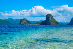 Scenic view of tropical sea bay and rock islands. Scenic view of tropical sea bay and mountain islands, El, Nido, Palawan, Philippines Royalty Free Stock Photography