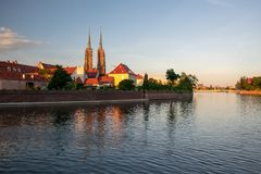 Scenic view of Tumski Island and Odra River at sunset. Wroclaw, Poland Stock Images