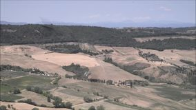Scenic view of the Tuscan countryside around Montepulciano, Siena, Tuscany, Italy. Europe stock footage