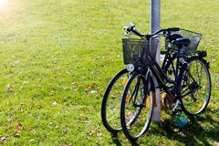 Scenic view two bicycles standing on green grass. background concept leisure. Sunlight tone. Scenic view two bicycles standing on green grass. background concept Royalty Free Stock Image