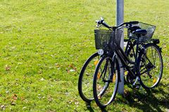 Scenic view two bicycles standing on green grass. background concept leisure. Scenic view two bicycles standing on green grass. background concept leisure Royalty Free Stock Photo