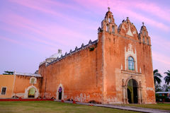 Scenic view of typical Mexican church at sunset, Ticul Stock Image