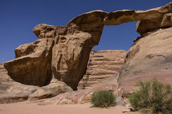 Scenic view of Um Fruth rock bridge in Wadi Rum desert Royalty Free Stock Photo