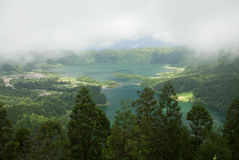 Scenic view under the clouds of Lagoa das Sete Cidades, Azores Royalty Free Stock Images