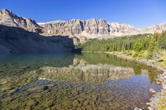 Fish Lake Morning Landscape View Rugged Mountain Cliffs Canadian Rockies stock images