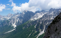 Scenic view from Valbona Pass. Scenic view from the highest point of the valbona pass in northern Albania Stock Photo