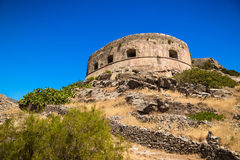 Scenic view of the venetian fortress on the island of Spinalonga Royalty Free Stock Images