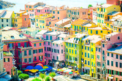 View on beautiful Vernazza town from above. Vernazza is one of the most popular old village in Cinque Terre, Italy stock photos