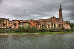 Scenic view of Verona from the river Adige Royalty Free Stock Photo