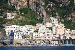 Scenic view of village atrani on amalfi coast, italy Stock Images