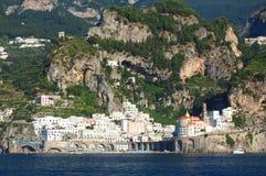 Scenic view of village atrani on amalfi coast, italy Royalty Free Stock Photos