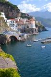 Scenic view of village atrani on amalfi coast, italy Stock Photo