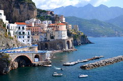Scenic view of village atrani on amalfi coast, italy. Scenic view of village atrani on amalfi coast in italy stock photography