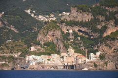 Scenic view of village atrani on amalfi coast, italy Royalty Free Stock Photos