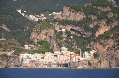 Scenic view of village atrani on amalfi coast, italy Stock Photo