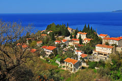 Scenic view of a village on Budvanska riviera Royalty Free Stock Image