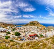 Scenic view of the village of Lindos and Lindos castle stock photo