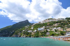 Scenic view of village raito on amalfi coast, italy Royalty Free Stock Photography