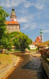 Scenic view of Vltava river and castle and St Jost church towers in Cesky Krumlov, Czech Republic stock photo
