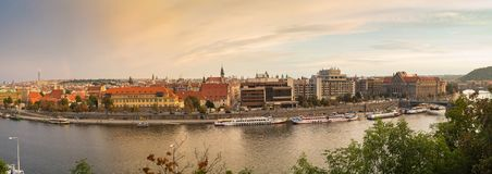 Panorama of prague center. Scenic view on vltava river and historical center of prague buildings and landmarks of old town Royalty Free Stock Photo