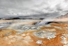 Volcanic landscape with boiling mud, Hverir - Namafjall - Iceland Stock Images