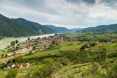 Scenic View into the Wachau with the river Danube and town Weiss. Enkirchen in Lower Austria stock image