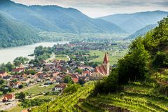 Scenic View into the Wachau with the river Danube and town Weiss. Enkirchen in Lower Austria royalty free stock photography