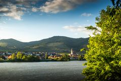 Scenic View into the Wachau with the river Danube and town Weissenkirchen in Lower Austria.  stock photo