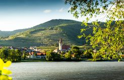 Scenic View into the Wachau with the river Danube and town Weissenkirchen in Lower Austria.  royalty free stock images