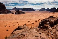 Scenic view of Wadi Rum desert,. View of Wadi Rum desert, Jordan from a mountain royalty free stock image