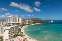 Scenic view of Waikiki Beach in summer Stock Photo
