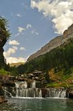 Scenic view on waterfall in the forest. On Spanish Pyrenees in Spain Stock Images