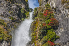 A scenic view of the waterfall in New Zealand Royalty Free Stock Image