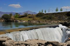 Scenic view of waterfall. In Montenegro Royalty Free Stock Photo