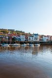 Scenic view of Whitby city and abbey in sunny autumn day Royalty Free Stock Image