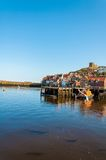 Scenic view of Whitby city and abbey in sunny autumn day Stock Images
