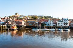 Scenic view of Whitby city and abbey in sunny autumn day Royalty Free Stock Images