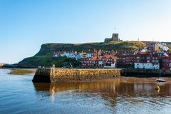 Scenic view of Whitby city and abbey in sunny autumn day Stock Image