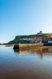 Scenic view of Whitby city and abbey in sunny autumn day Royalty Free Stock Photo