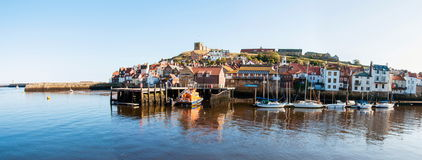 Scenic view of Whitby city and abbey in sunny autumn day Stock Photography