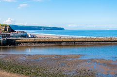 Scenic view of Whitby city in autumn sunny day Stock Photo